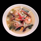 Miso soup with seafood and udon noodles