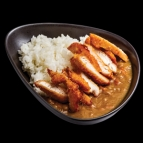 Japanese Curry with steamed rice chicken breast in panko breadcrumbs