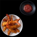 Big crunchy prawns with chili jam